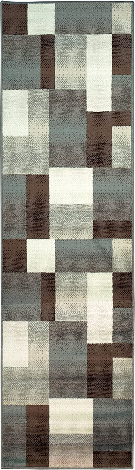 SUPERIOR Clifton Mid-Century Modern Geometric Polypropylene Indoor Area Rug or Runner with Jute Backing, 2.6x8, Light Blue