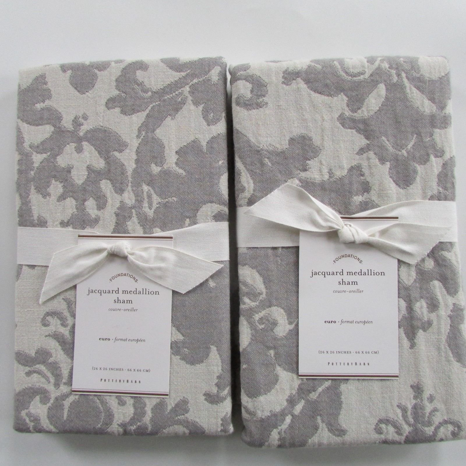 Pottery Barn JACQUARD MEDALLION Euro Shams ~~Set of Two~~Gray~