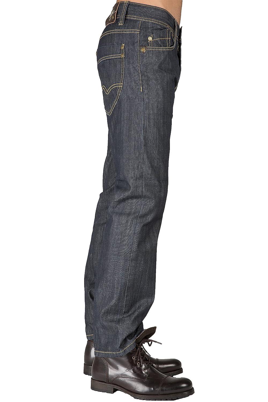 Level 7 Men Relaxed Straight Leg Coating Raw Indigo Premium Denim Jeans