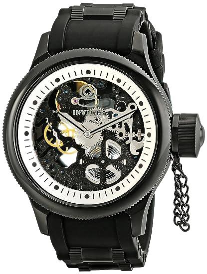 Invicta 1091 - Reloj analógico de caballero manual con correa de goma negra: Amazon.es: Relojes