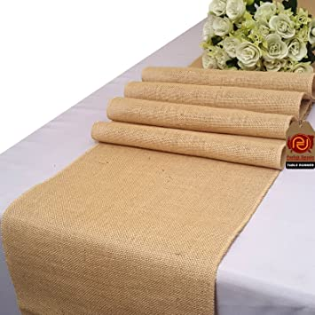 Parfair Dessin Natural Burlap Jute Table Runner For Rustic Primitive  Country Wedding Party Farmhouse Decoration Spring