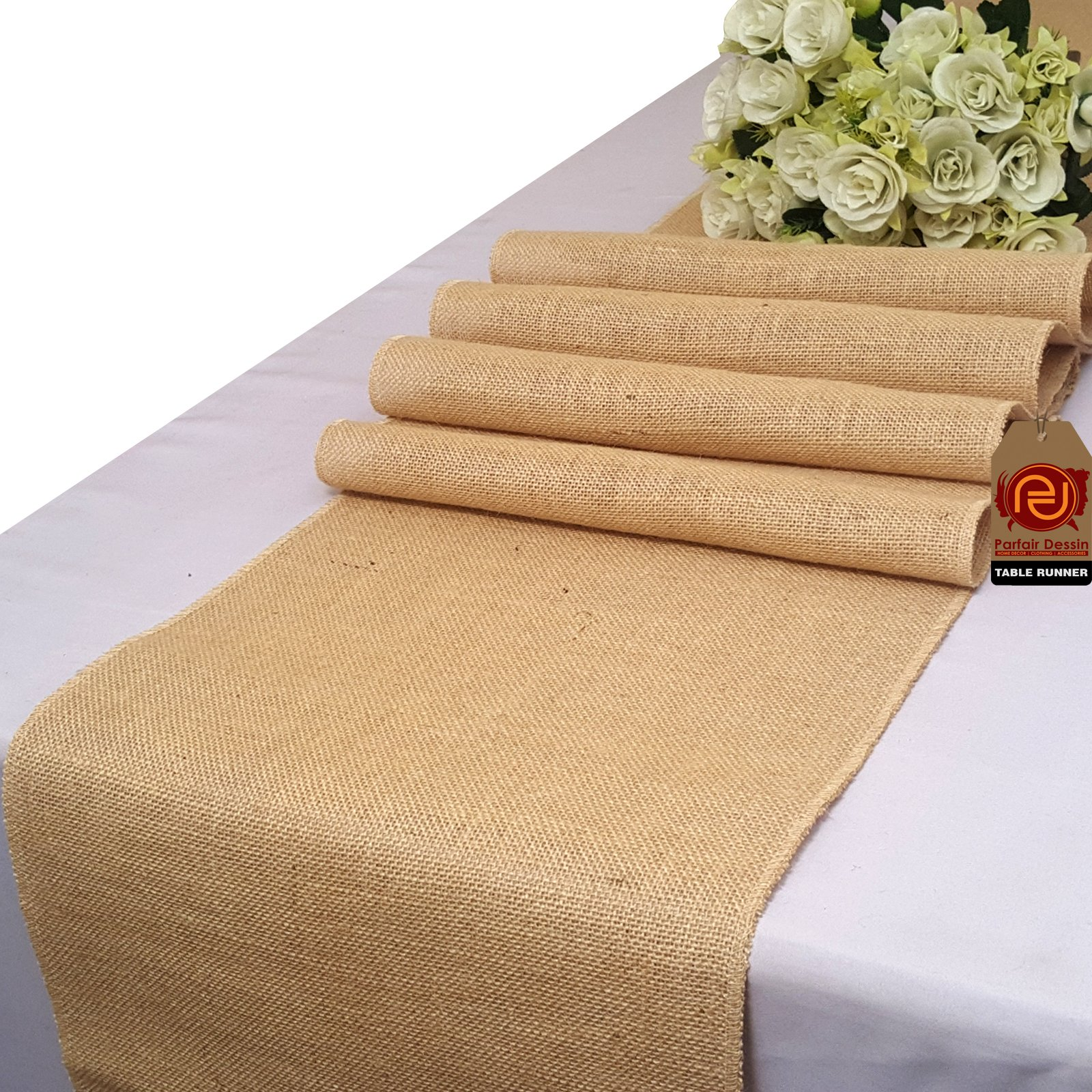 Parfair Dessin Natural Burlap Jute Table Runner for Rustic Primitive Country Wedding Party Farmhouse Decoration Spring Bridal Baby Shower Decor - Overlocked Edges (14 in. x 84 in, Natural)