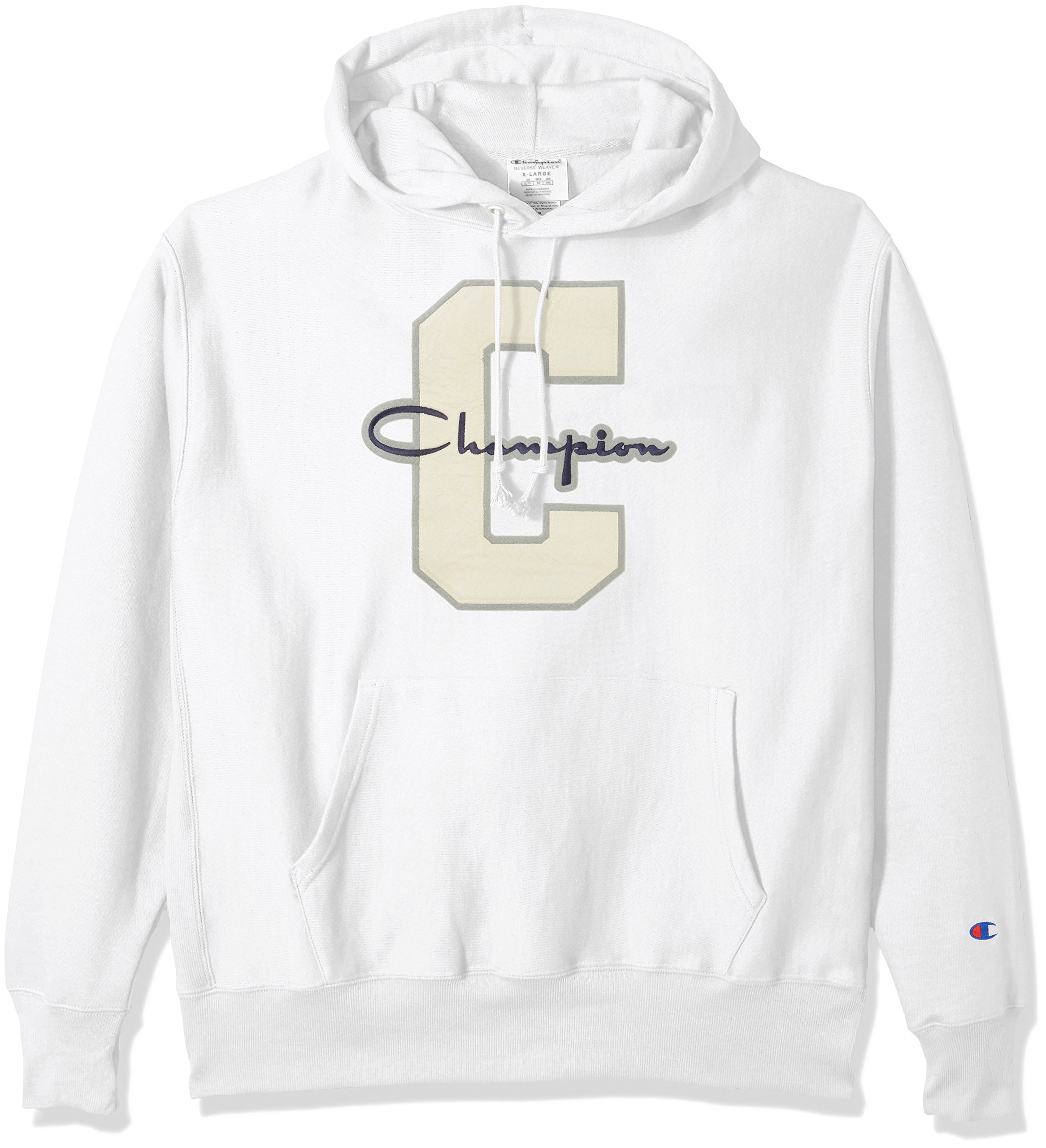 Champion LIFE Men's Reverse Weave Pullover Hoodie, White/Champion Script/c Logo, 3X Large by Champion LIFE