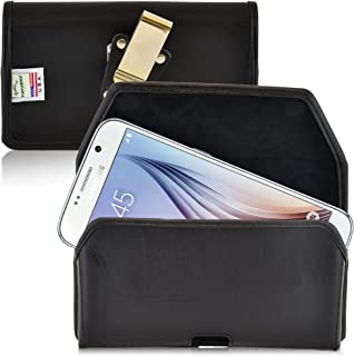 product image for Turtleback Belt Case Made for Samsung Galaxy S6 and S6 Edge Black Holster Leather Pouch with Heavy Duty Rotating Ratcheting Belt Clip Horizontal Made in USA