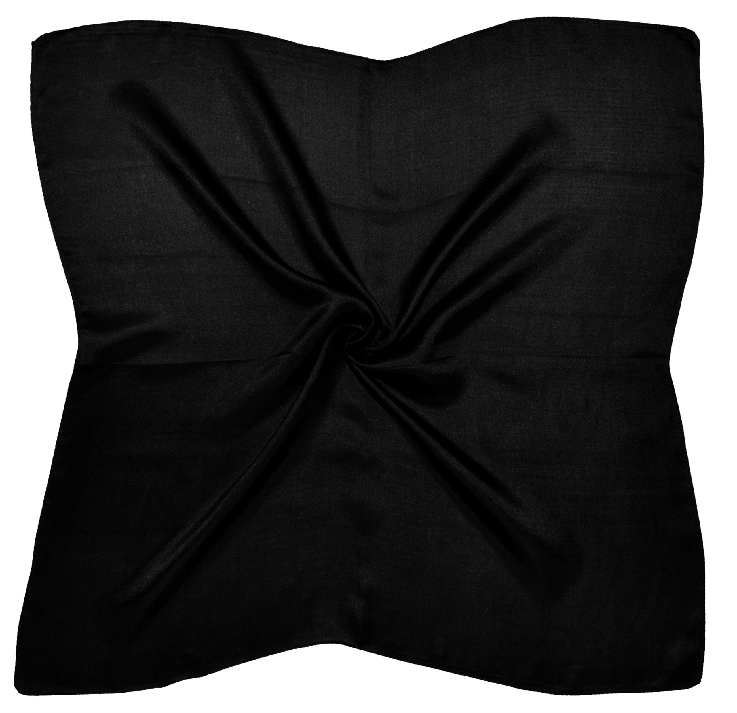 Black Small Fine Silk Square Scarf