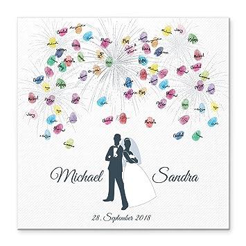 Madyes Leinwand Hochzeit Fingerabdruck Gastebuch Personalisiert