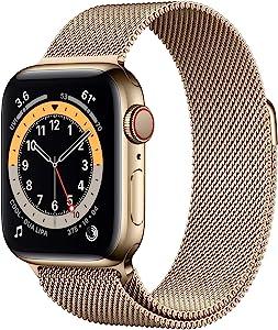 Apple Watch Series 6 40mm Gold Aluminum Milanese Loop (GPS+Cellular) M02P3LL/A (Renewed)