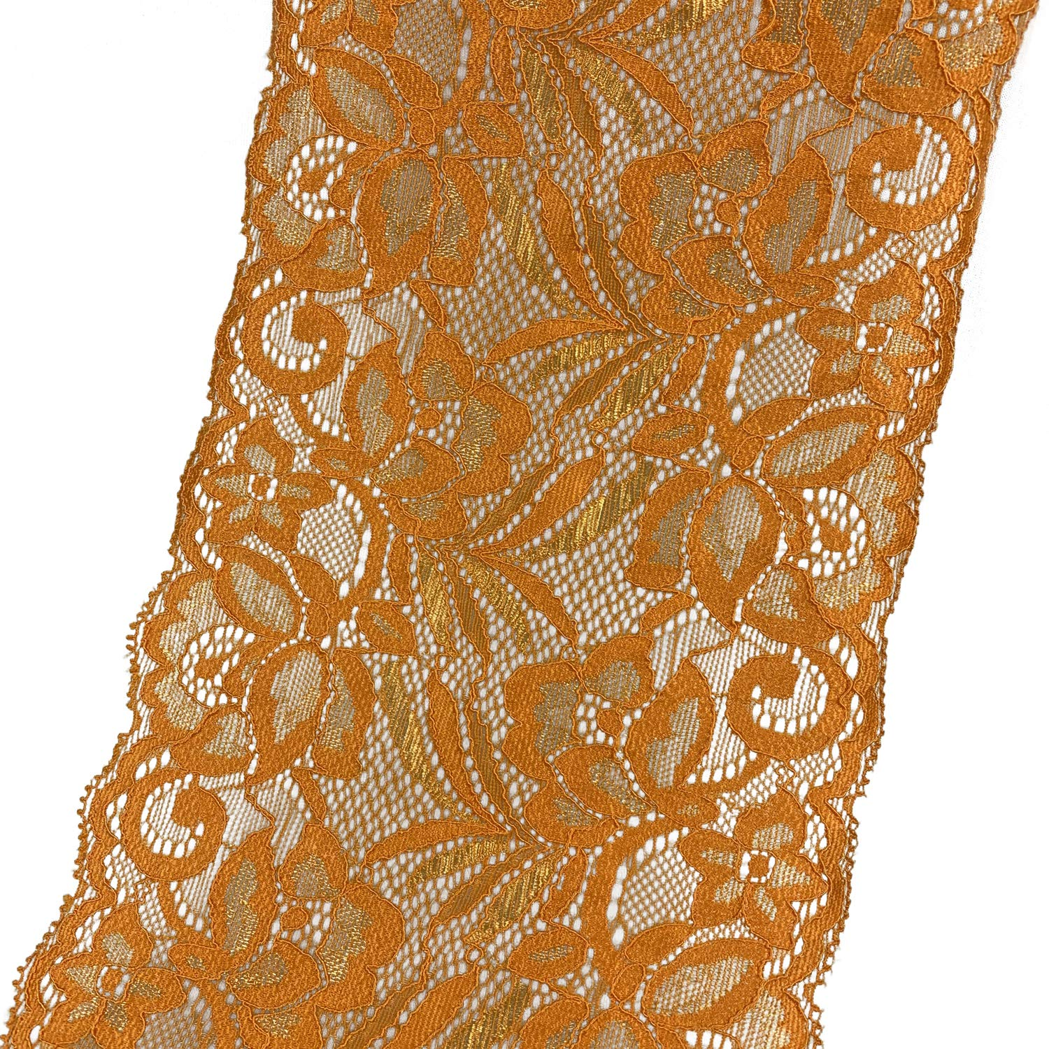 Width Stretch Polyester Embroidery Floral Pattern Elastic Lace Trimming DTY Craft Supply Clothing Accessories 10 Yards 5.9 15CM Orange