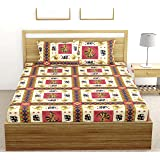 Fab Theory Rajasthani Folk 104 Tc 100% Cotton Double Bedsheet with 2 Pillow Covers, Brown