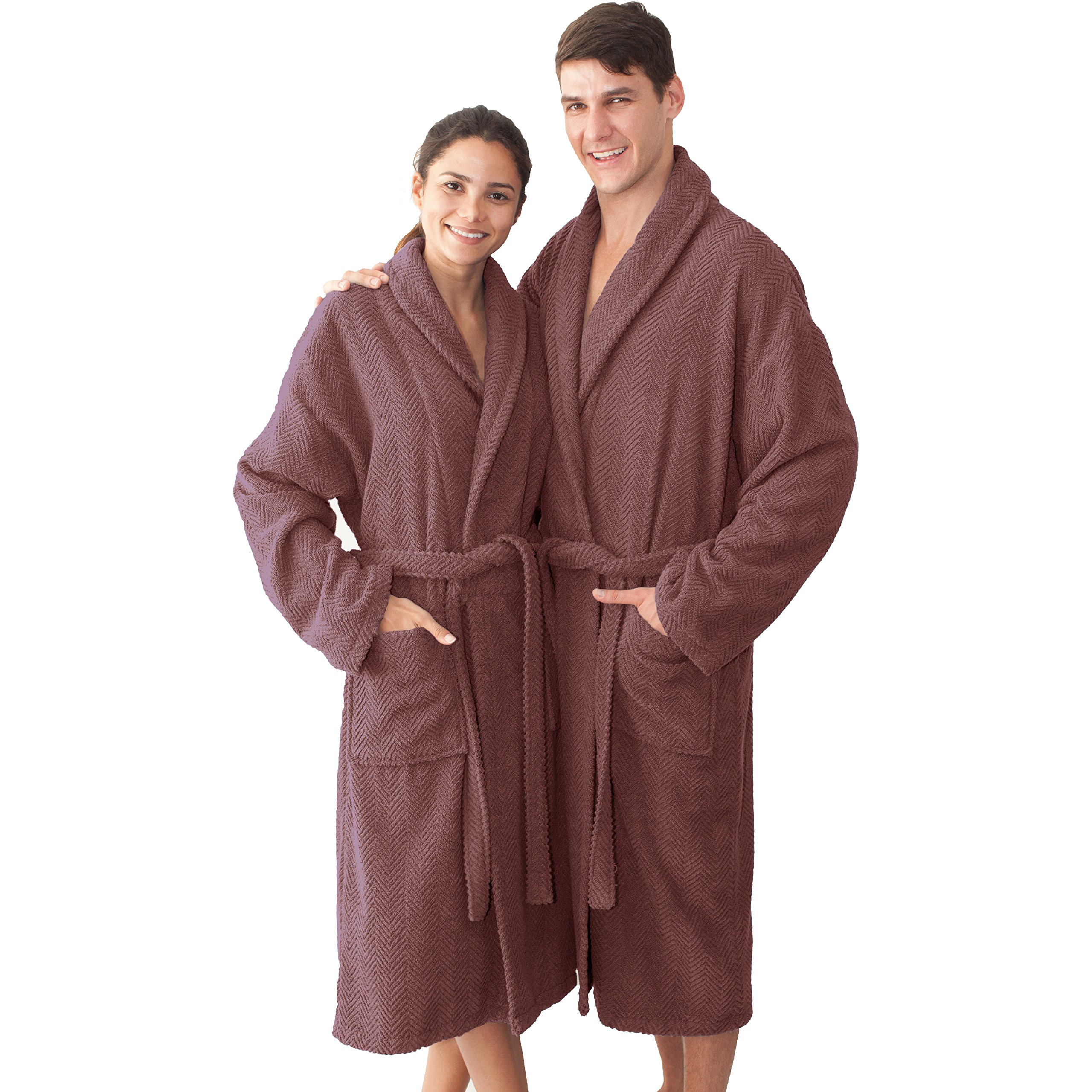 HT 49 Inches Plum Purple Solid Color Large X-large Unisex Bathrobe, Purple Comfortable Spa Robe For Men And Women, Soft Cozy Luxurious Herringbone Weave Long Sleeves Belt Side Pockets, Turkish Cotton