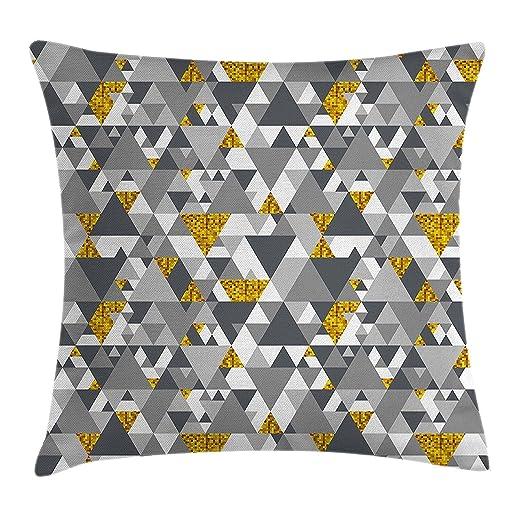 Home&apron Funda de cojín gris y amarillo, diseño geométrico ...
