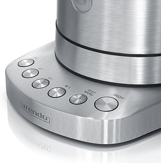 Arendo bouilloire en acier inoxydable avec des niveaux de température 4 réglages de température sélectionnables fonction réchauffement 30min