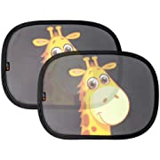 Baby Uma Car Sun Shades, Best Car Window Shade for Baby, Protect Your Infant & Child. 2X Giraffe Design Sunshade Car Blinds by EZ-Bugz