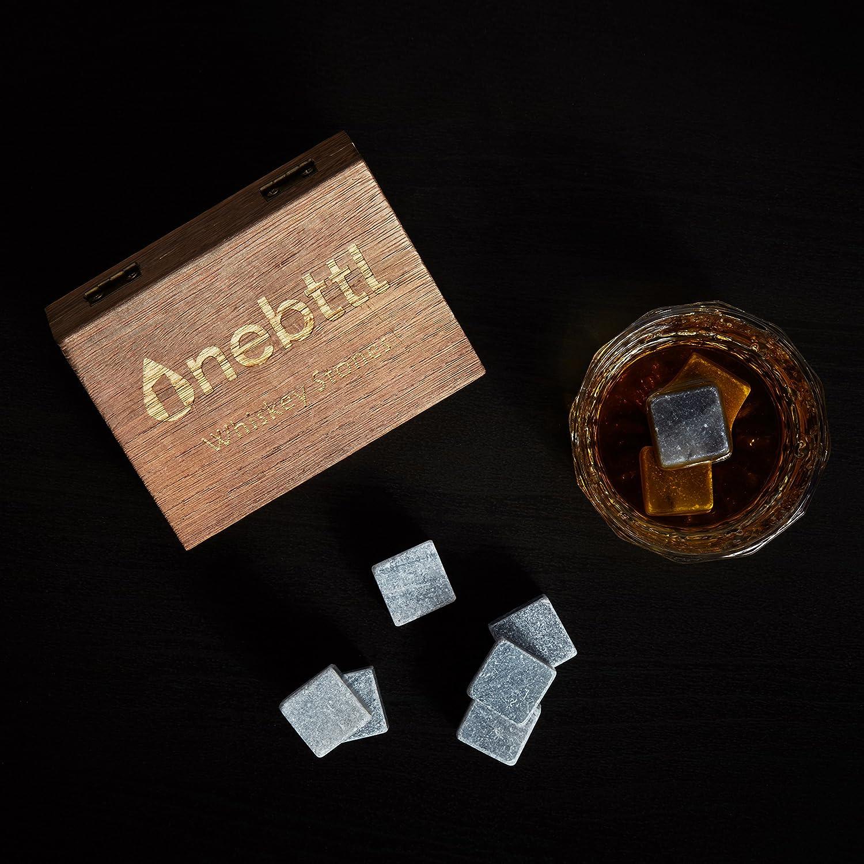 9pcs Piedra de Jabón Gris Piedras de Whisky - Onebttl Whisky Stones para Enfriar su Whisky Vino y otras Bebidas Cubos de hielo reusables-con una Elegante ...