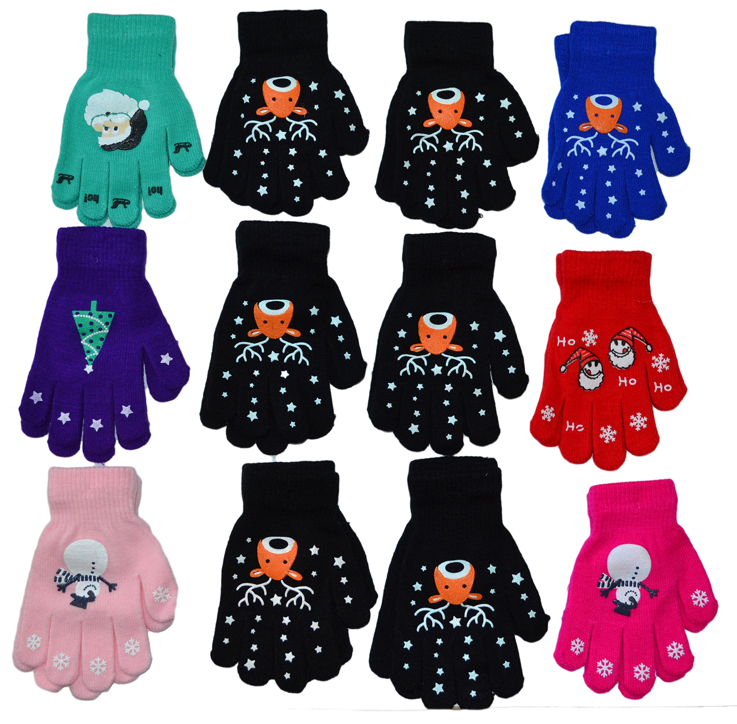 OPT Brand. Kids Magic Grabber Gloves Children Knit Christmas Gloves Wholesale 12 Pairs.