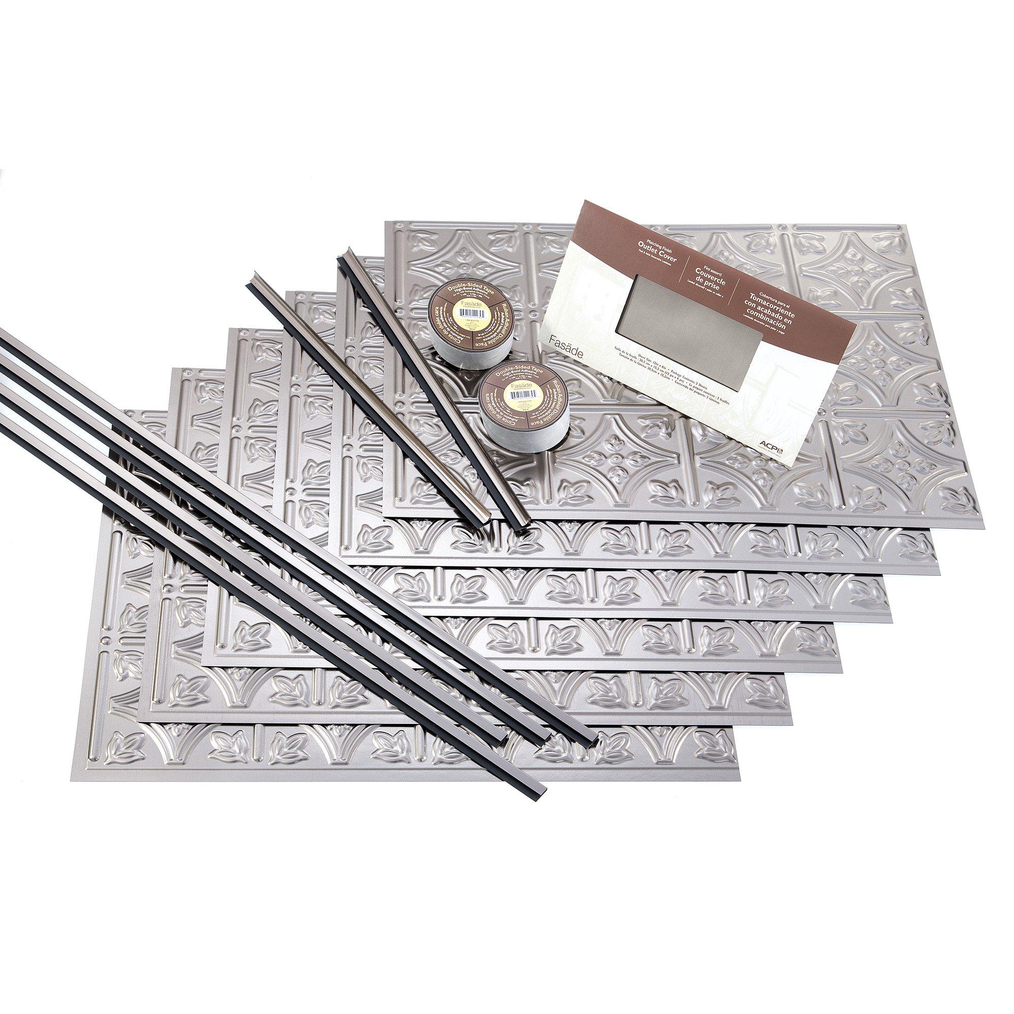FASÄDE Easy Installation Traditional 1 Brushed Nickel Backsplash Panel for Kitchen and Bathrooms (18 sq ft Kit)