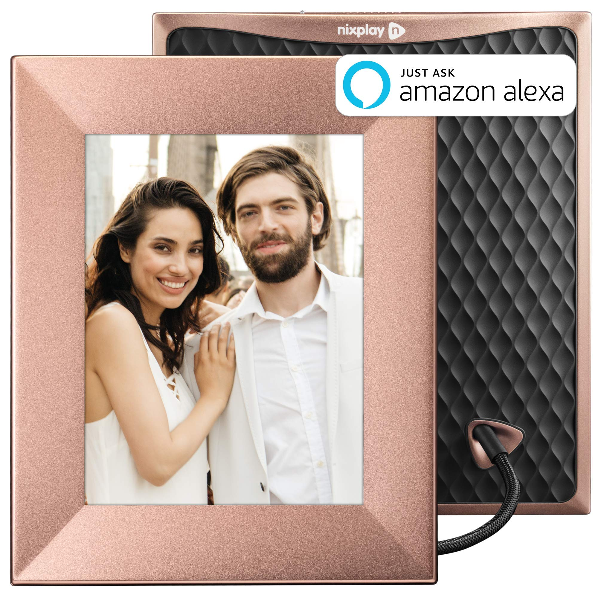 Nixplay Iris 8 Inch Digital WiFi Photo Frame W08E Peach Copper - Smart Frame with IPS Display, Motion Sensor and 10GB Online Storage, Display and Share Photos with Friends via Nixplay Mobile App by nixplay
