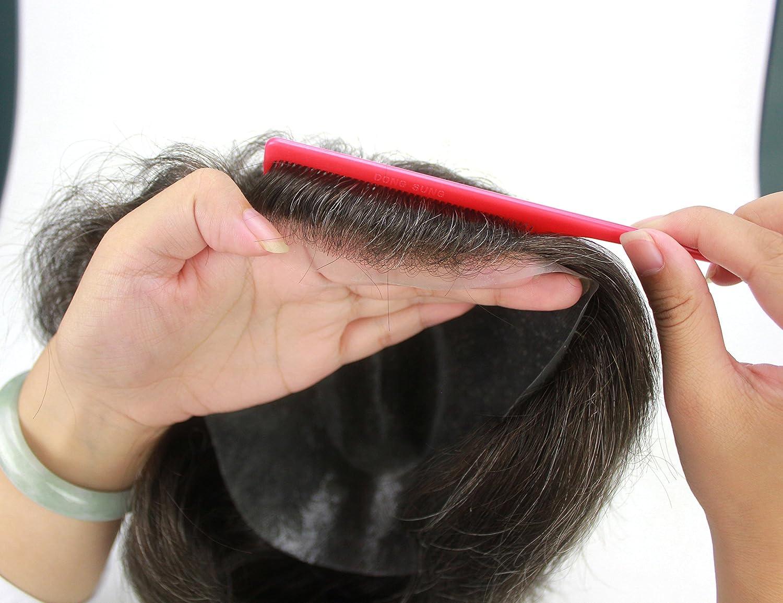 Lordhair Human Hair Toupee Body Wave Natural sraight 10 * 8 Pulgadas Tamaño 220# Color del Cabello 20% Pelo Gris: Amazon.es: Belleza