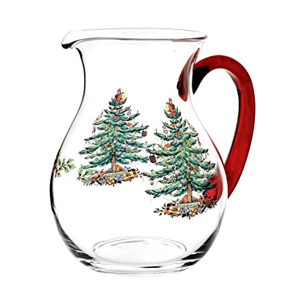 Spode Christmas Tree Glass Pitcher with Red Handle - Amazon.com Spode Christmas Tree Glass Pitcher With Red Handle