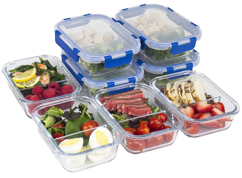 [8 juegos de recipientes de comida, 2 compartimentos, de cristal, con tapa, para preparación de comida, con tapas de LifeTime, contenedores de control de ...