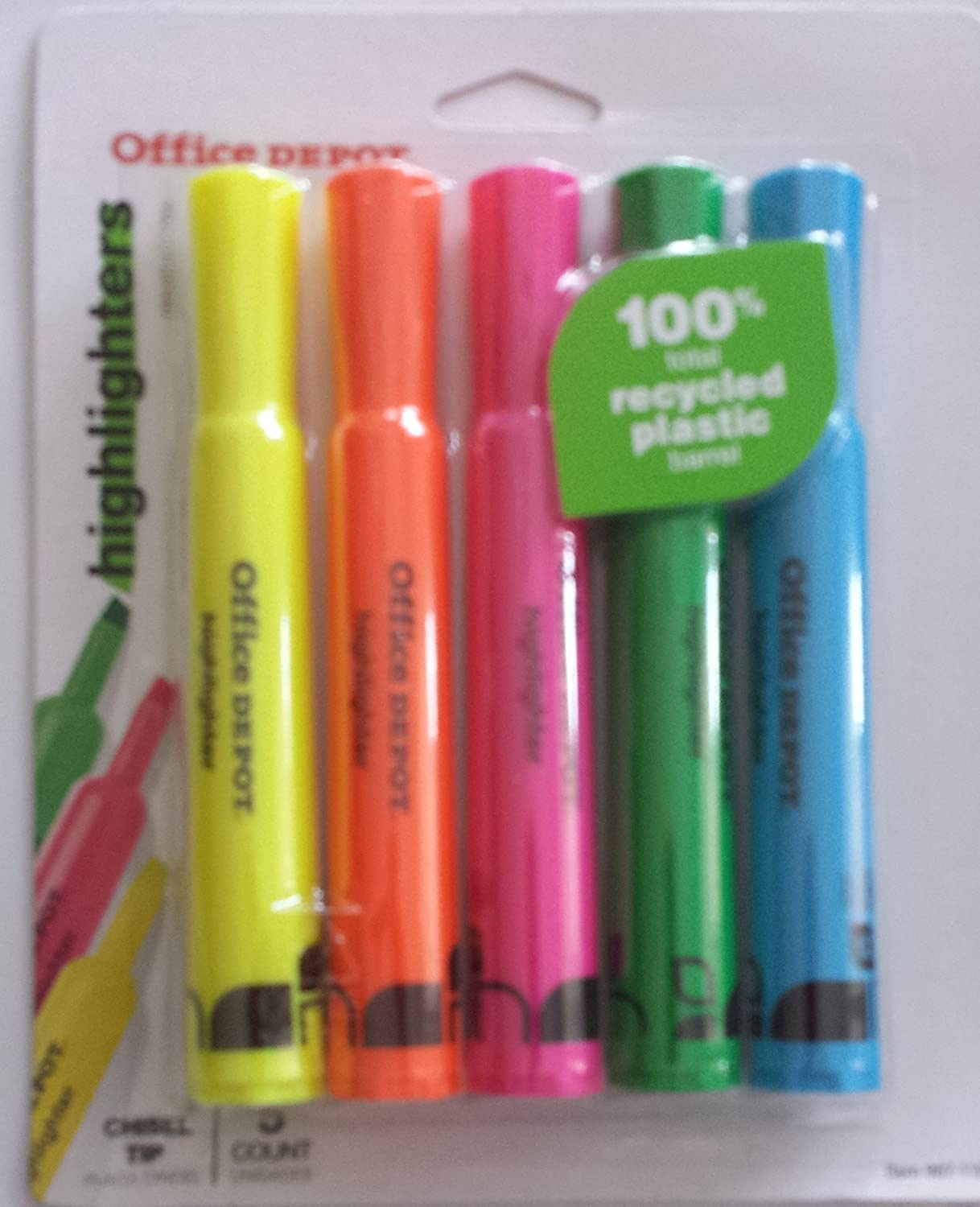Office Depot Chisel Tip Highlighters 5 Count Multi-color