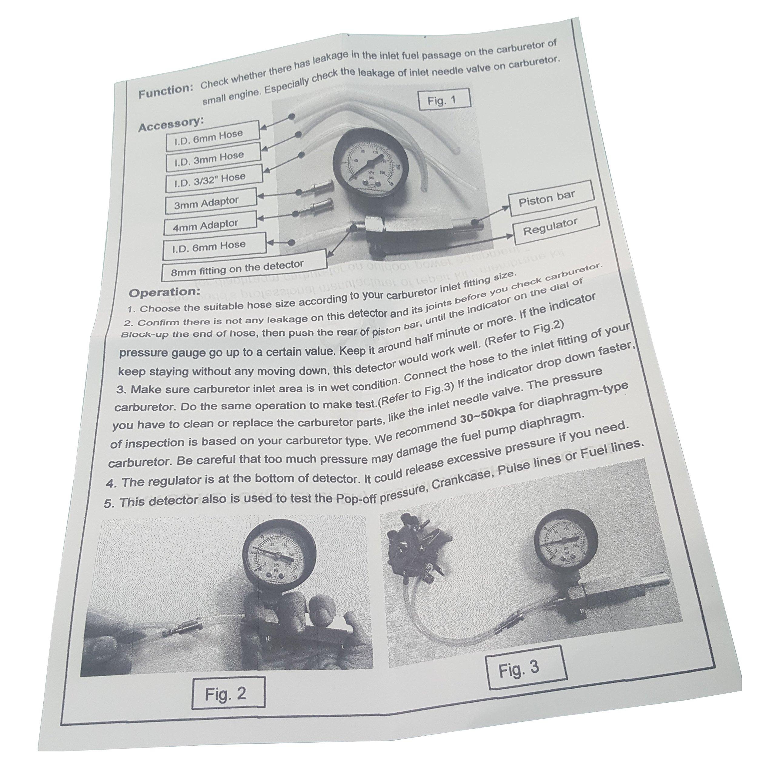 RA Carburetor/Crankcase Pressure Gauge Leak Detector Up to 30 PSI with Plastic Box