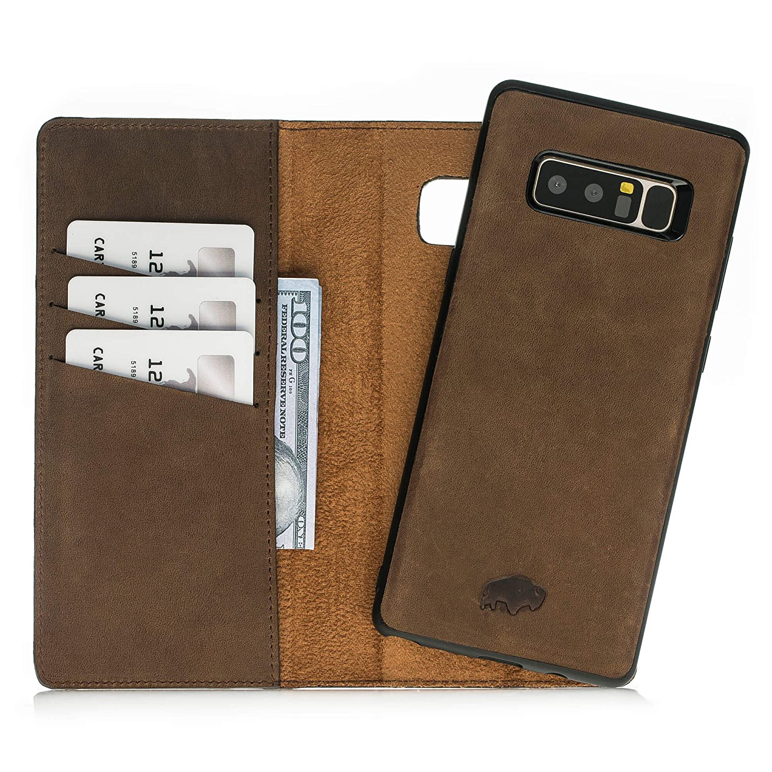 sale retailer 550cb bc294 Samsung Note 8 Leather Case by Burkley, Leather Wallet Folio Case ...