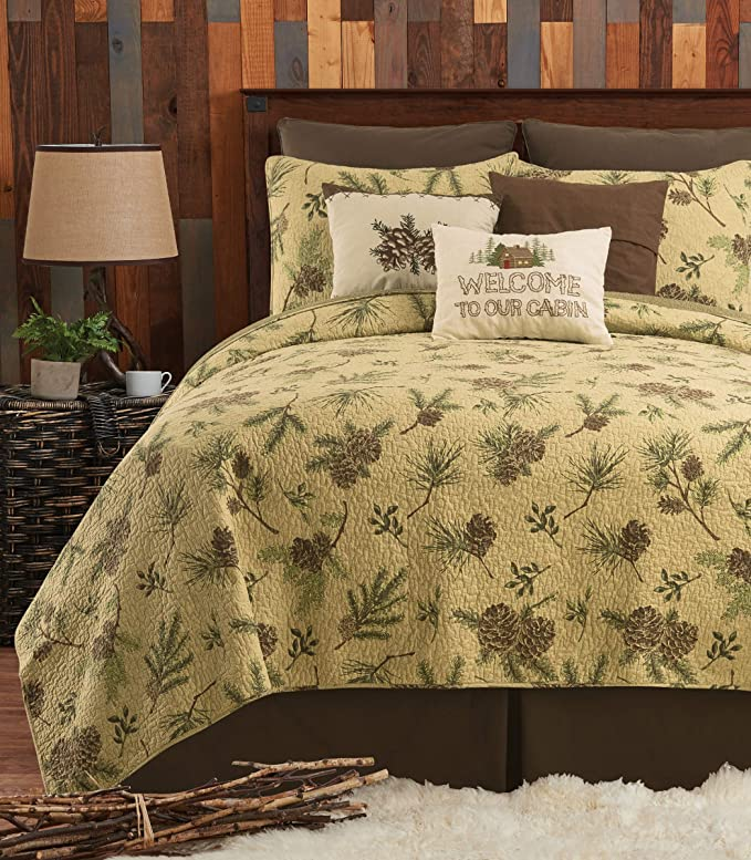 Machine Wash King Reversible Imported Full//Queen Realistic Elk on a River Rustic Woodland Scene Quilt Twin Richly Colored Cover Polyester Shams Sold Separately