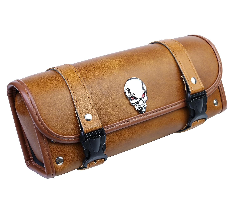 Porte-Bagages à roulettes à Outils à Moto ou Baguette à Fourche Avant Bagage Marron avec Pinces à accès Rapide et crâne letgoing