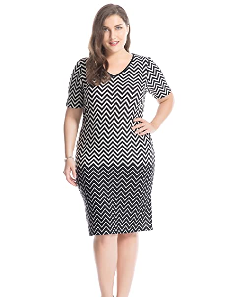 Chicwe Women\'s Plus Size Printed V Neck Short Sleeves Zigzag Dress - Knee  Length Casual and Work Dress