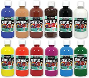 Sargent Art (SARAD) 24-6101 16oz Acrylic Paint Assortment, 12 Colors, Bottles