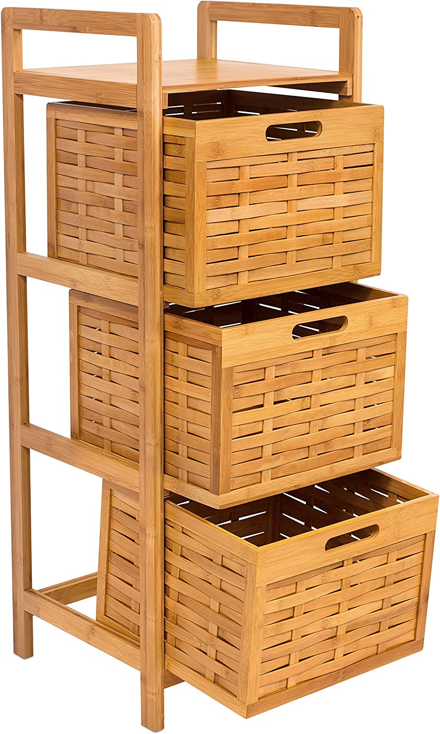 BIRDROCK HOME Storage Tower - Made of Natural Bamboo - Lightweight for Easy Transport - Fully Assembled