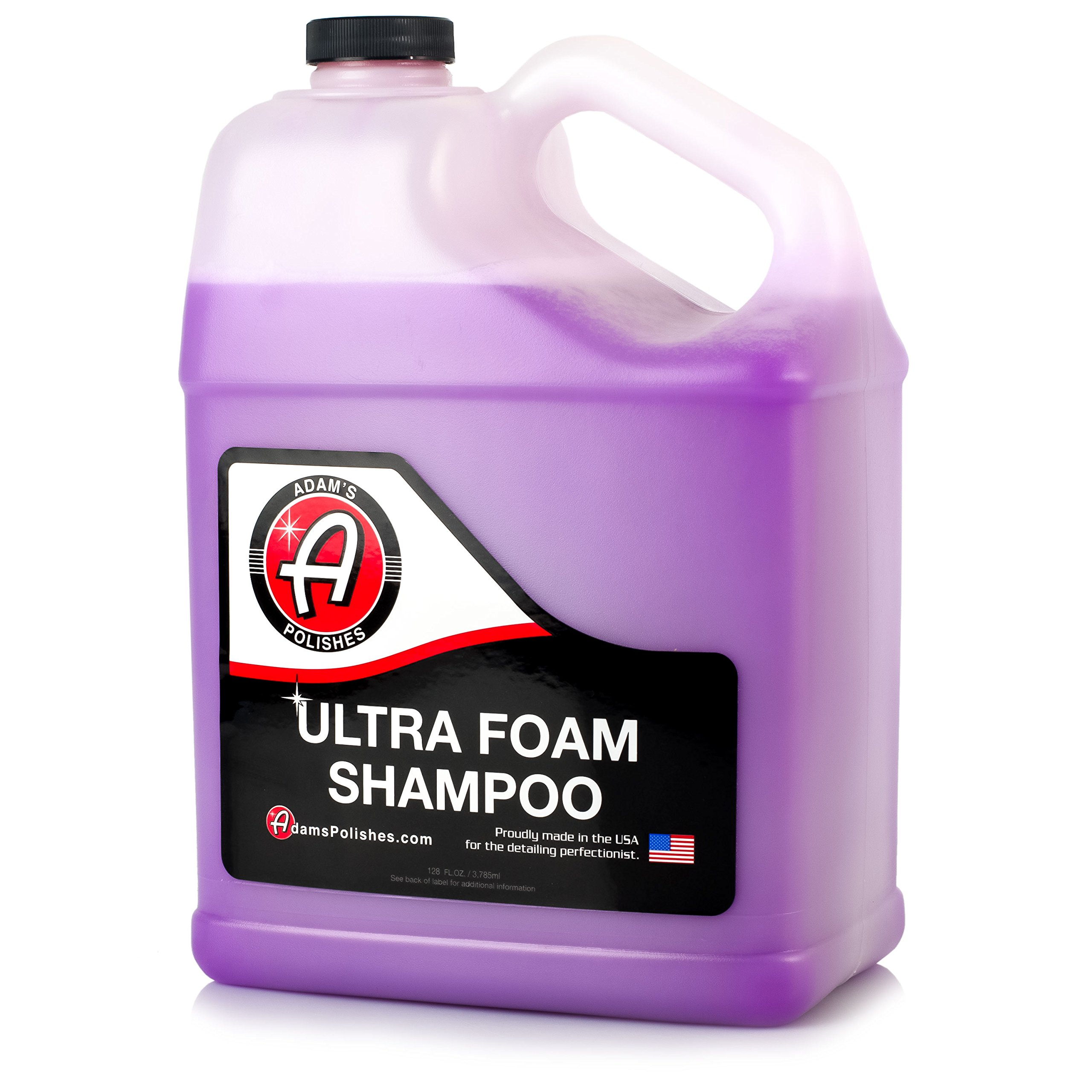 Adam's Ultra Foam Shampoo Gallon - Our Most Sudsy Car Shampoo Formula Ever - pH Neutral Formula for Safe, Spot Free Cleaning - Ultra Slick Formula That Wont Scratch or Leave Water Spots