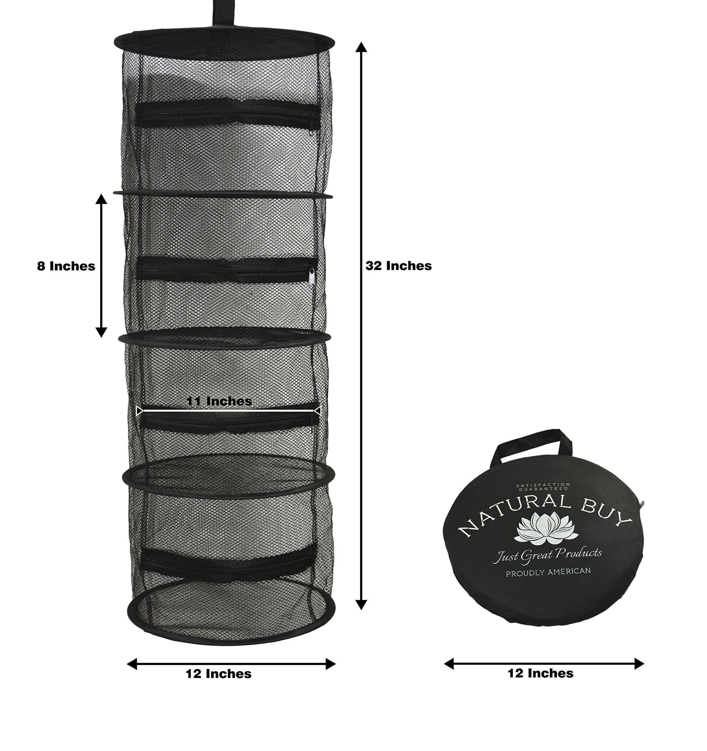 Compact 12 Inch Diameter 4 Layer Mini Hanging Herb Drying Rack - Black Dry Net Mesh Screen with Zippers for Indoor and Outdoor Use - Ideal for Closets and Grow Tents by Natural Buy