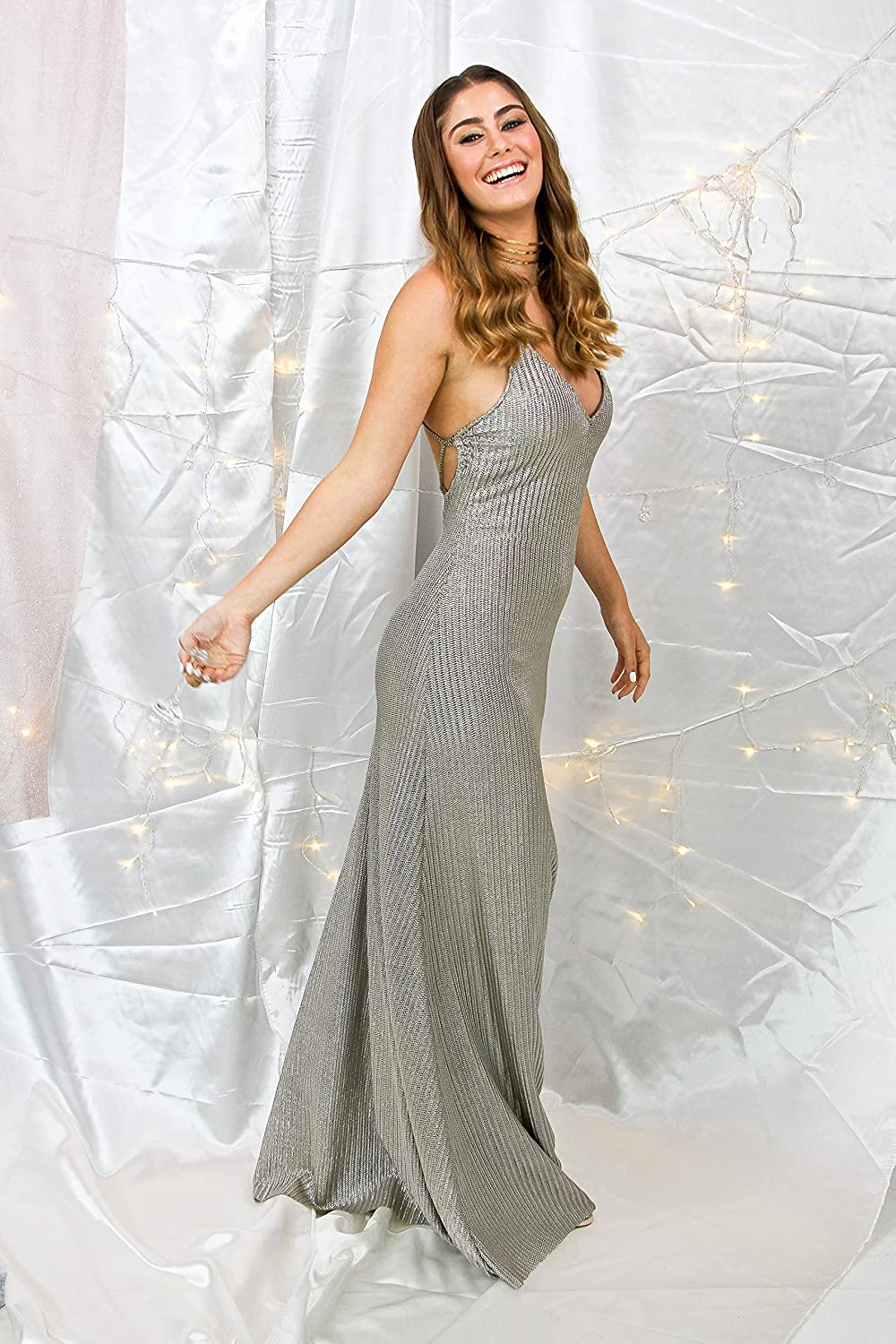 e0a607fad39 Amazon.com  Silver Bridesmaid Dress