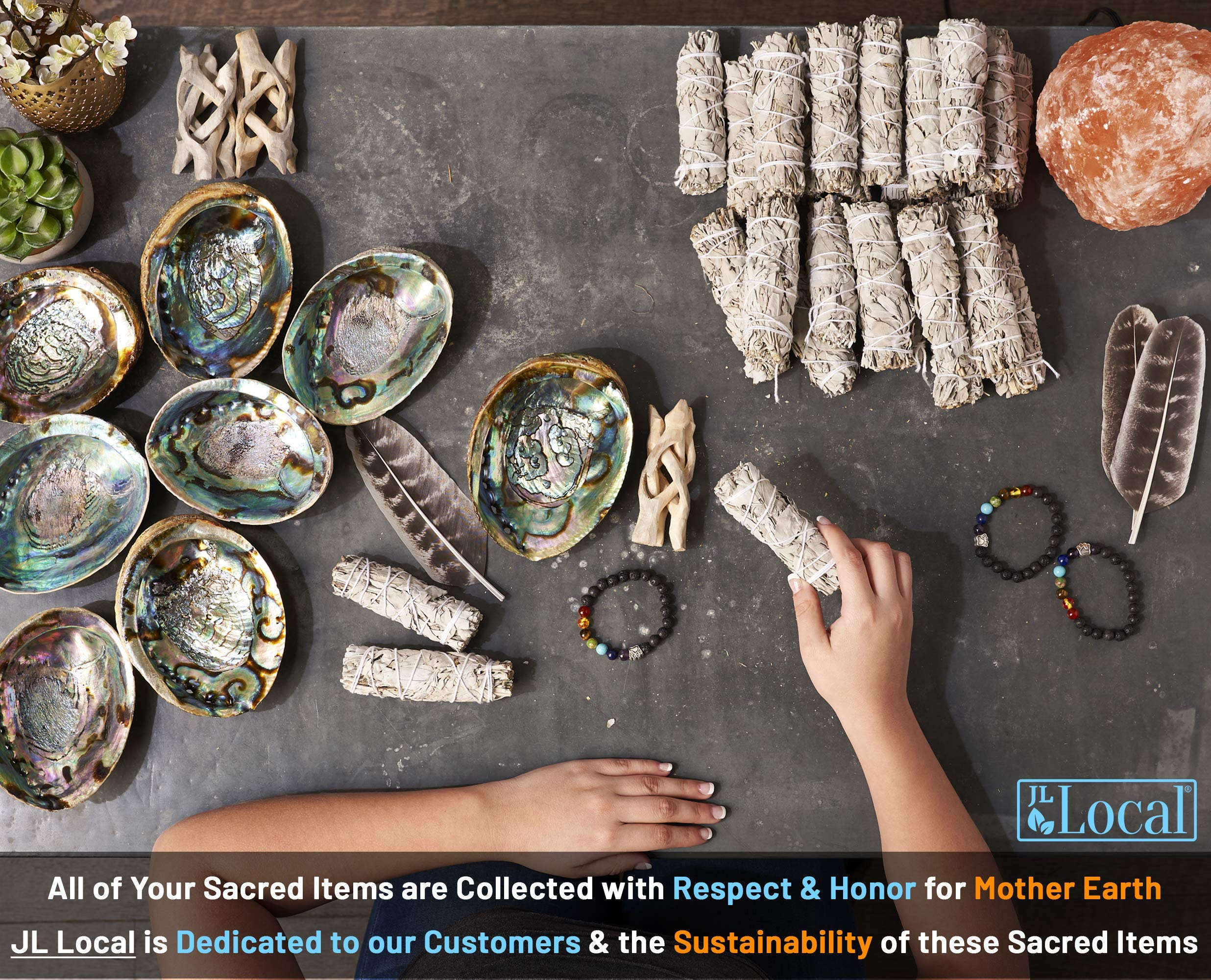 JL Local 3 White Sage Smudge Gift Kit - Abalone Shell, Feather, Stand, Instructions & More - Smudging, Cleansing, Healing & Stress Relief by JL Local (Image #3)