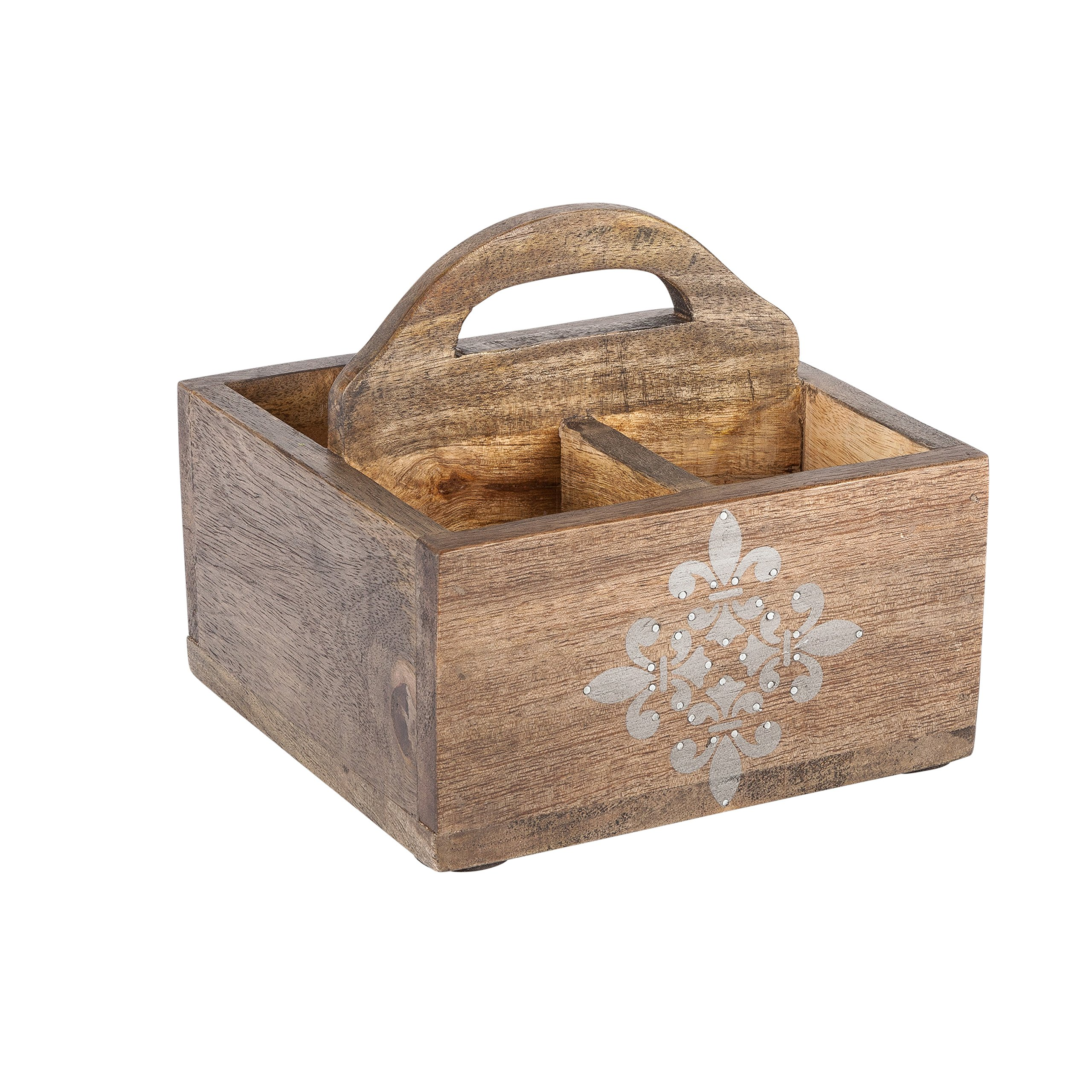 The Gerson Company 93531 7.5''X7.5'' Meadowlark Home Collection Hand Made Mango Wood Fleur De Lis Pattern Wood Caddy