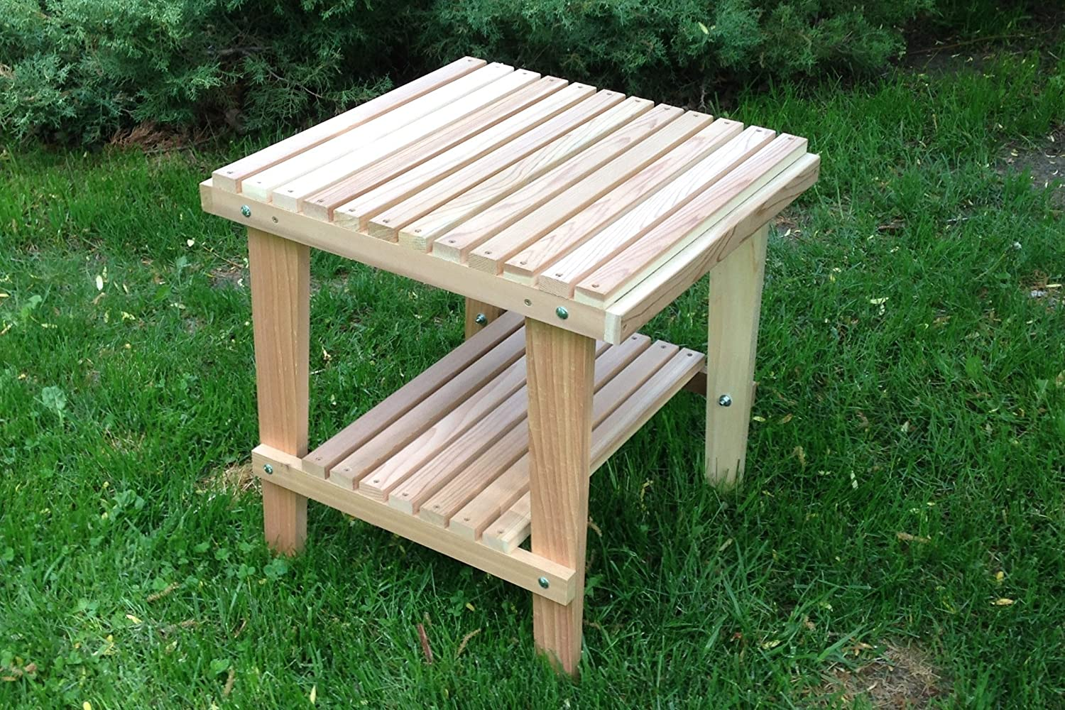 Amazon.com : Natural Cedar Side Table With Shelf, Amish Crafted : Garden U0026  Outdoor