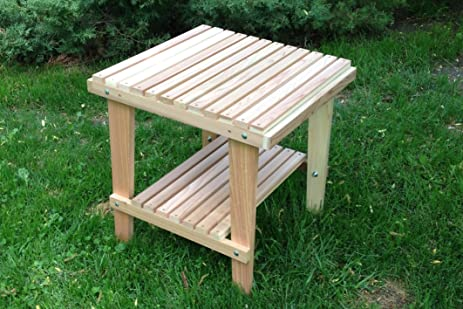 Natural Cedar Side Table With Shelf, Amish Crafted. Roll Over Image To Zoom  In. Kilmer Creek Cedar Outdoor Furniture