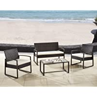 Modern Outdoor Garden, Patio 4 Piece Seat - Gray, Black Wicker Sofa Furniture Set