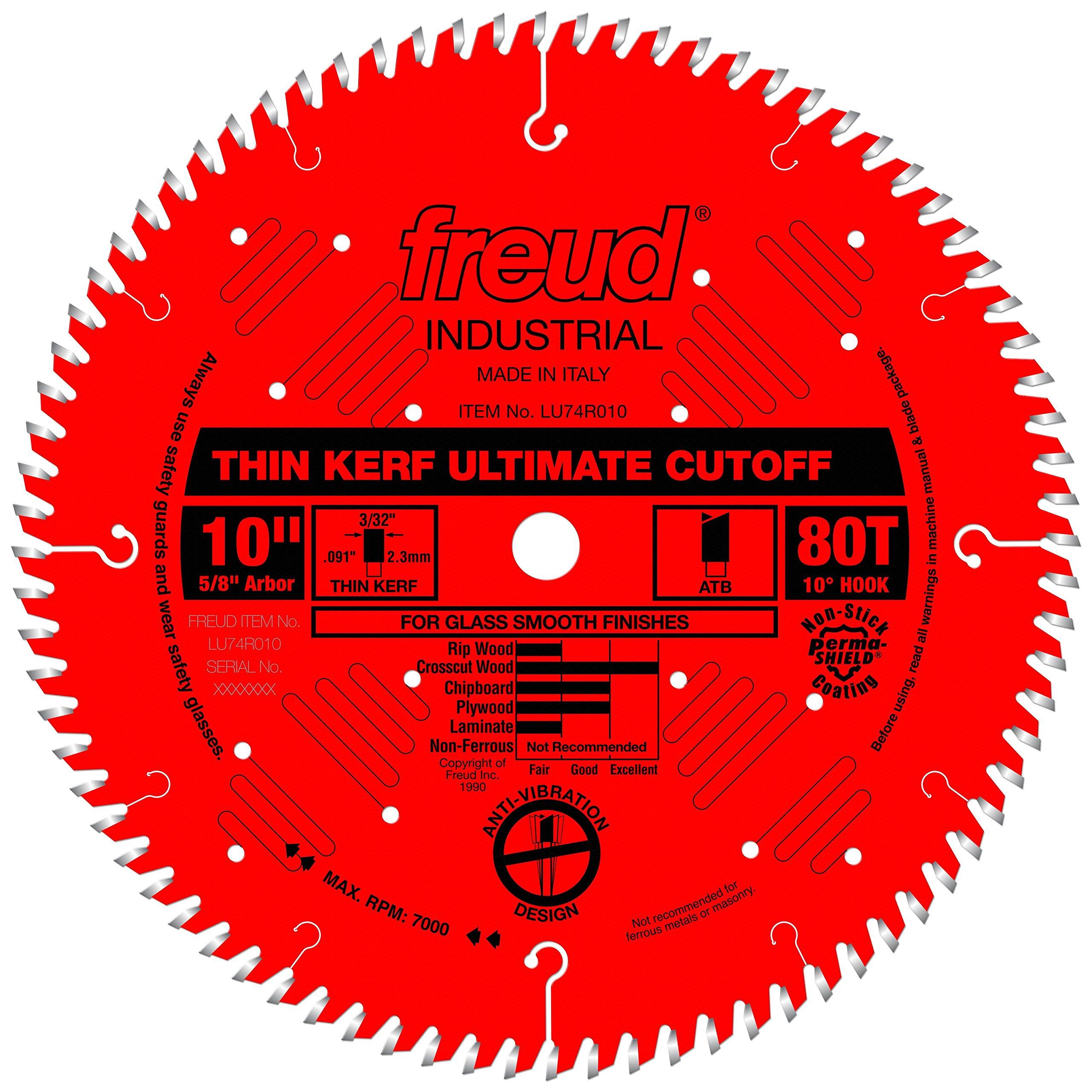 Freud 10'' x 80T Thin Kerf Ultimate Cut-Off Blade (LU74R010) by Freud