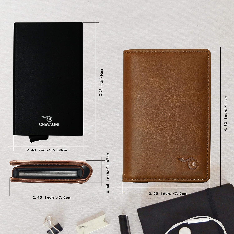Portefeuille Minimaliste Homme Femme avec Porte-Carte de Cr/édit Aluminium Anti RFID D/étachable Card Holder Anti Piratage Marron Coffret Cadeau Porte Carte Cuir C-CHEVALIER/®