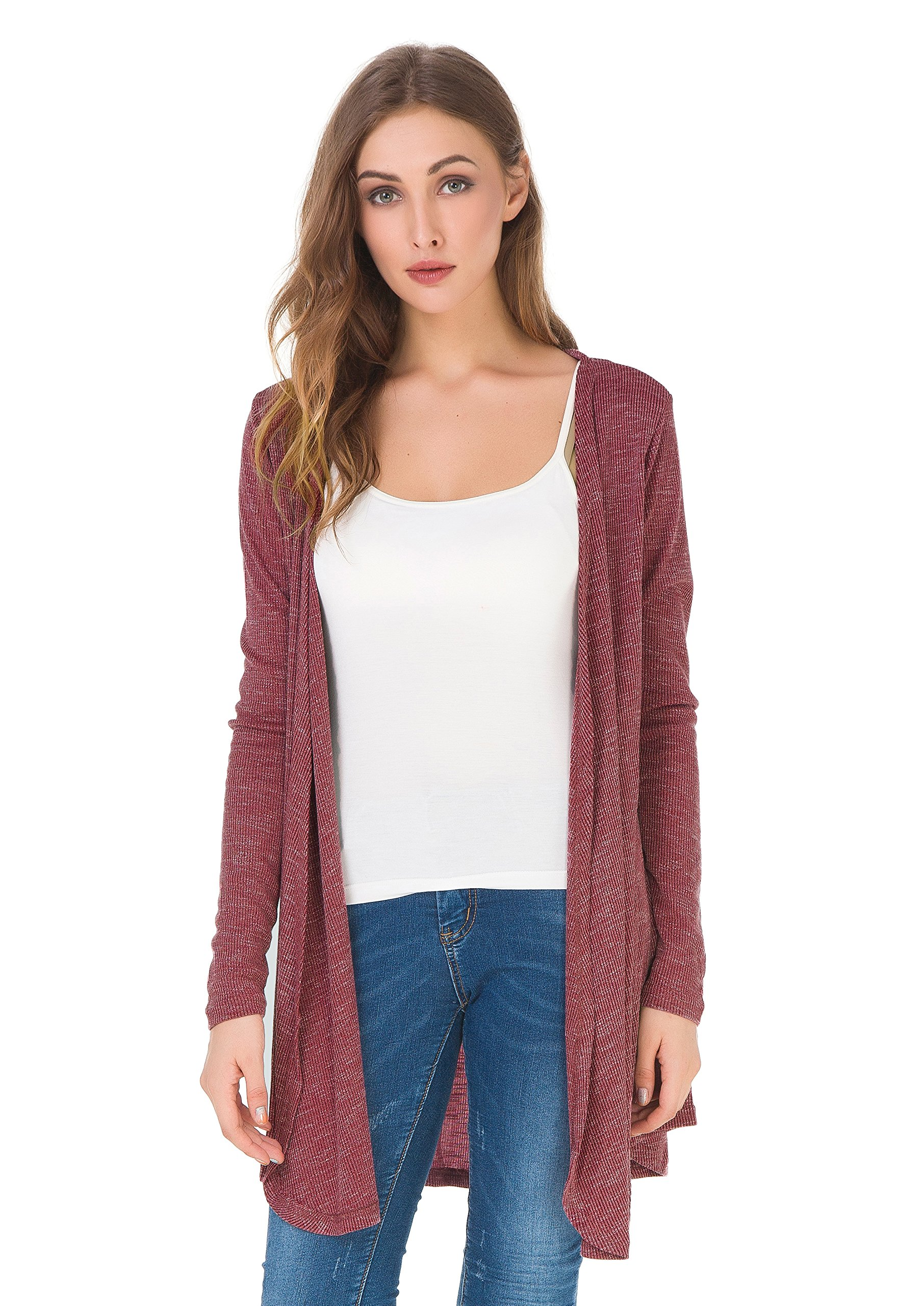 Upopby Women's Soft Casual Open Front Drape Cardigan Long Sleeve Knit Cardigan Sweater Plus Size Burgundy L