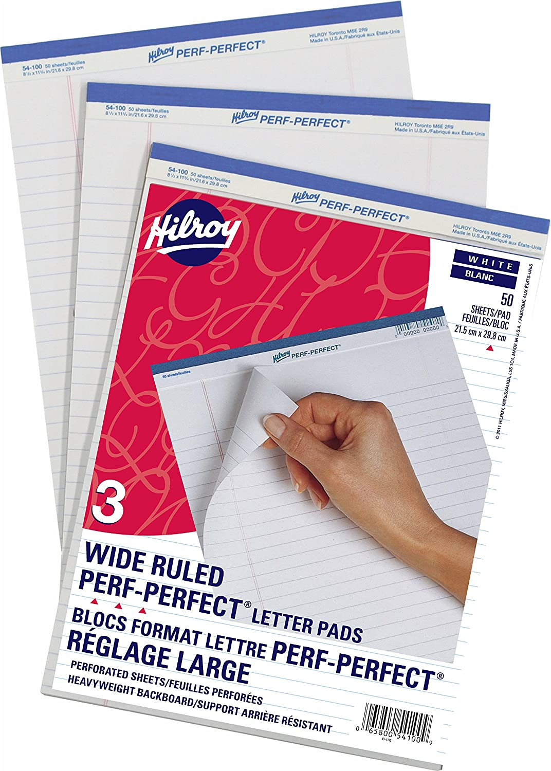 Hilroy 54100 Perf-Perfect Writing Pads, 5/16-Inch Wide Rule with Margin, 8-1/2x11-3/4-Inch, White, 50-Sheets, 3/Pack