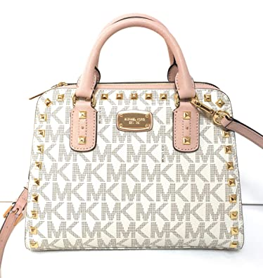 d0fff5d4cb5a ... low price michael michael kors sandrine stud small satchel bag vanilla  ballet 382d4 ef6c0