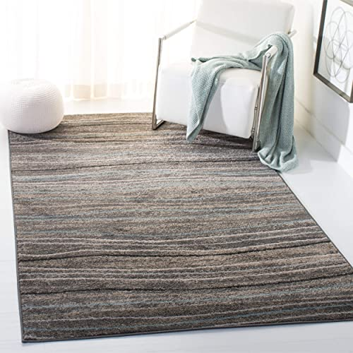 Safavieh Amsterdam Collection Silver and Beige Area Rug, 4 x 6