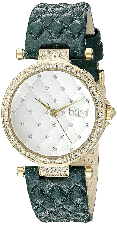 Burgiレディースbur154gnイエローゴールドクォーツ腕時計スワロフスキークリスタルアクセントとホワイトダイヤルグリーンキルト風サテンストラップ B0145FTV00