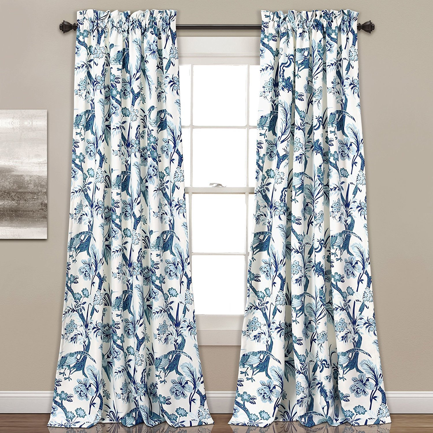 Nil 2pc 84 Girls Blue Color Floral Curtain Panel Pair, Kids Themed Animal Energy Efficient Room Darkening Rod Pocket Playful Luxurious, White Color Window Drapes, Polyester by Nil (Image #1)
