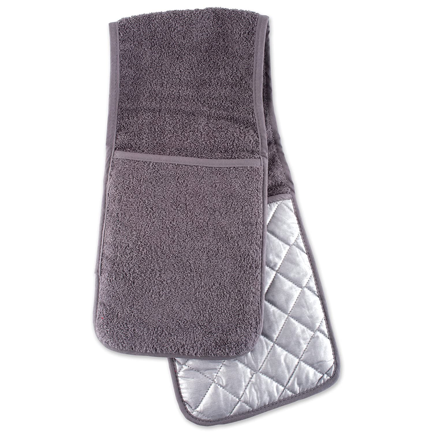 DII 100% Cotton, Terry Double Oven Mitt, Gray