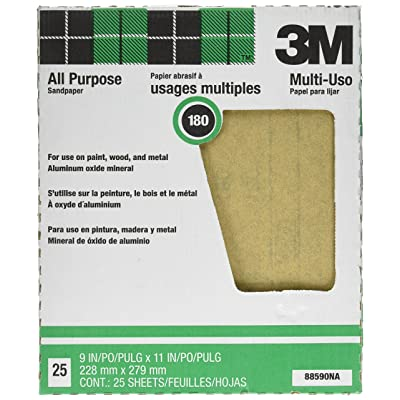 3M Pro-Pak 88590NA Aluminum Oxide Sheets for Paint and Rust Removal, 9-Inch x 11-Inch, 180A-Grit: Home Improvement